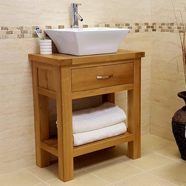 Rustic Oak Vanity Unit 700mm With Basin