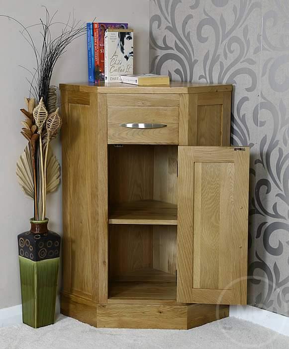 50% Off Oak Corner Lamp Table with Cupboard   Glenmore