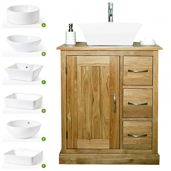 Solid Oak Vanity Unit With Basin 700mm