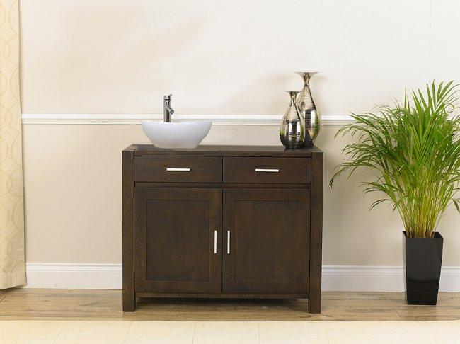 Dark Wood Vanity Unit Bathroom Savanna Mobel Oak