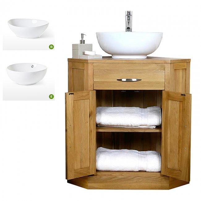 Oak Corner Vanity Unit With Basin Bathroom Prestige Mobel Oak