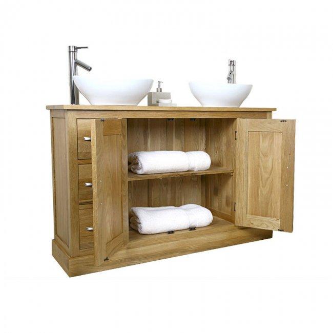 Double Sink Vanity Unit With Oak Bathroom Cabinet 1200mm Mobel Oak