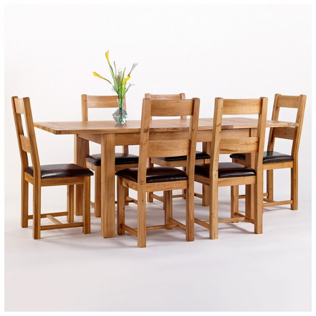 Rustic Oak Dining Table And 6 Chairs Extending Westbury