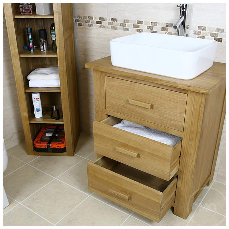 50% Off Solid Oak Vanity Unit with Drawers 700mm ...