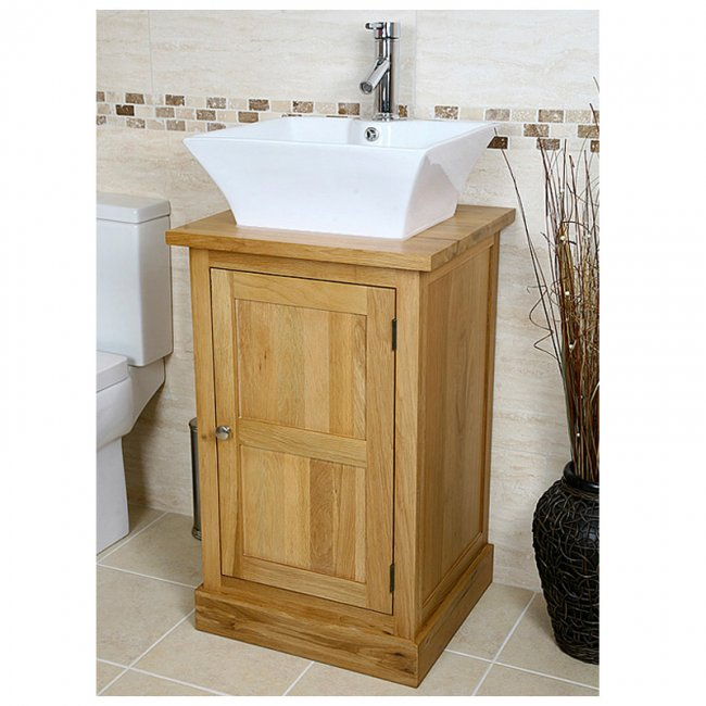 Swell Solid Oak Vanity Unit With Basin Sink 500Mm Bathroom Home Remodeling Inspirations Genioncuboardxyz