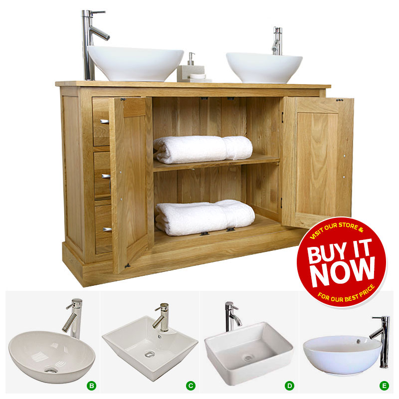 Moveable Solid Wood Ceramic Buffet Kitchen Sink Cabinet: Solid Oak Bathroom Cabinet Twin