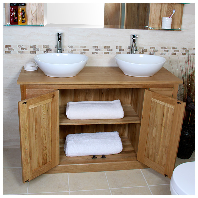 Double vanity unit solid oak bathroom cabinet twin ceramic sink basin taps set ebay - Oak bathroom sink vanity units ...