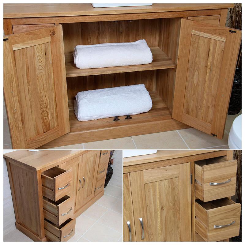 Double Vanity Unit Solid Oak Bathroom Cabinet Twin Ceramic Sink Basin Taps Set Ebay