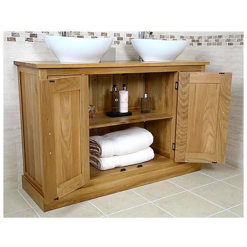 Solid Oak Double Vanity Unit Cabinet Sink Basin Tap Bathroom Furniture 1141