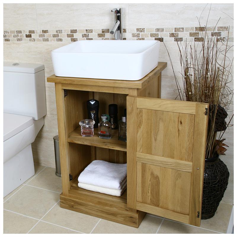 Solid Oak Vanity Unit Wash Stand Cabinet Basin Sink Tap Bathroom Furniture