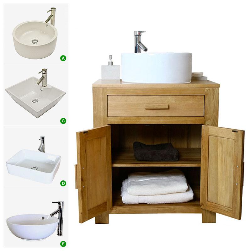 Oak Vanity Unit Solid Oak Cabinet With Basin Sink Tap Bathroom Furniture 502 Ebay