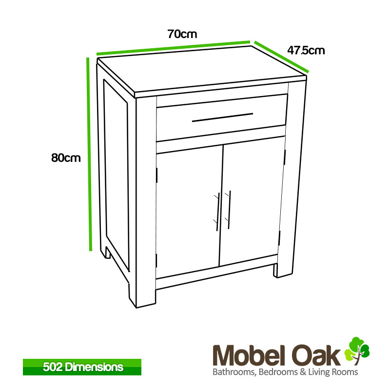 Solid oak vanity unit cabinet wash stand without basin for Bathroom vanity units without sink