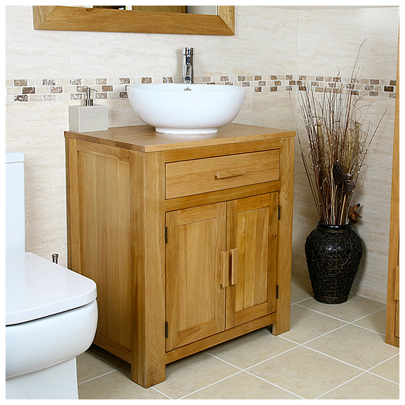 Oak Vanity Unit Solid Oak Cabinet With Basin Sink Tap Bathroom Furniture