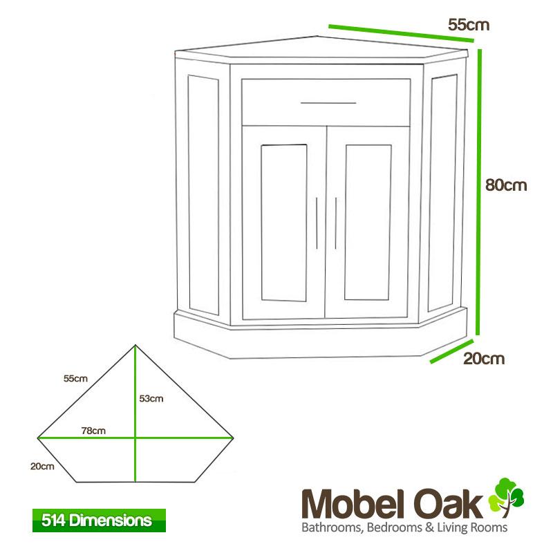 Corner Sink Dimensions : Corner Vanity Unit Solid Oak Vanity Unit with Basin Sink Bathroom ...