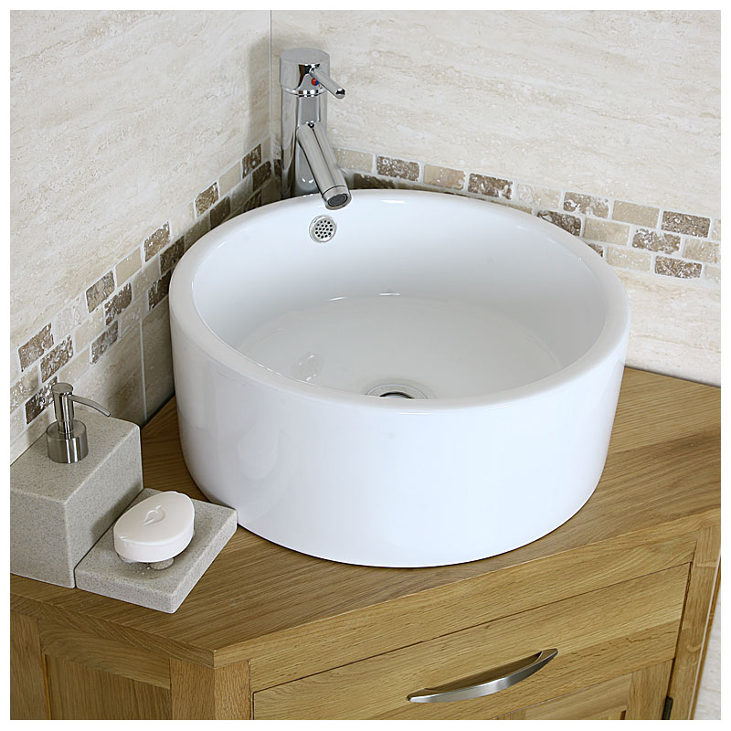 Corner Basin Unit Fitted Bathroom Furniture : Corner Vanity Unit Solid Oak Vanity Unit with Basin Sink Bathroom ...