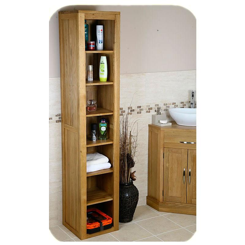 Tall Solid Oak Cabinet Bathroom Living Room Storage