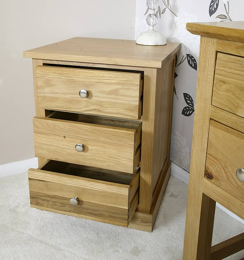 solid light oak bedside table with drawers oak bedroom