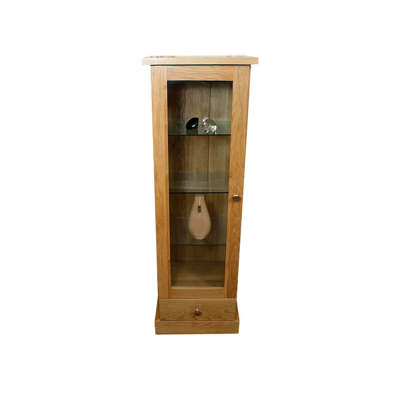 Solid light oak display cabinet with glass door oak for Oak display cabinets for living room