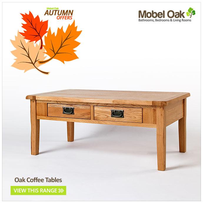 Oak Coffee Table With Drawers Light Oak Rustic Living Room Furniture Van 005