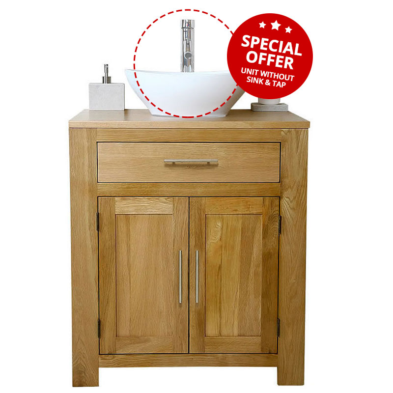 Solid oak vanity unit cabinet wash stand without basin for Bathroom cabinets 80cm wide