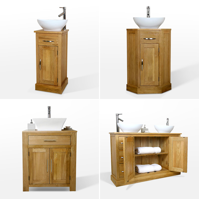 White painted bathroom vanity unit with contrast oak top for Bathroom cabinets 80cm wide